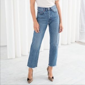 & Other Stories high waisted straight leg crop jeans